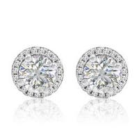 Amanda Rose Sterling Silver Halo Stud Earrings made with Austrian Crystal Zirconia (4 ctw.)