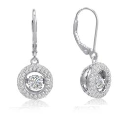 Amanda Rose Sterling Silver Gems in Motion Lever Back Earrings made with Austrian Crystal Zirconia - Thumbnail 0