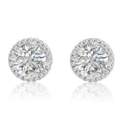 Amanda Rose Sterling Silver Halo Stud Earrings made with Austrian Crystal Zirconia (3ct tw)