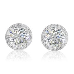 Amanda Rose 6ct tw Sterling Silver Halo Stud Earrings made with Austrian Crystal Zirconia