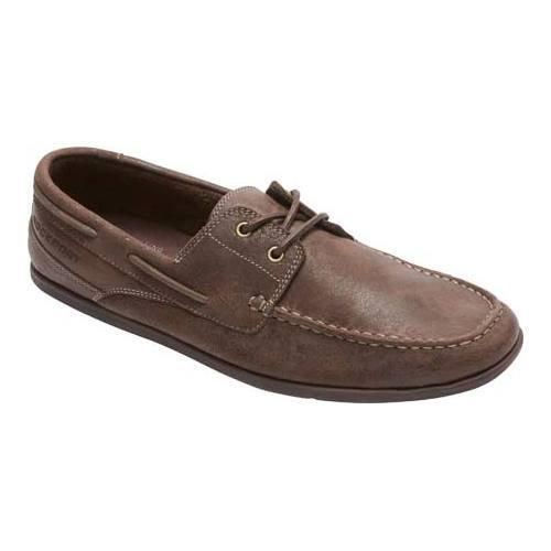 Men's Rockport Bennett Lane 3 Boat Shoe Dark Bitter Chocolate Leather