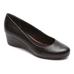 Women's Rockport Total Motion 45mm Plain Wedge Black Python Leather