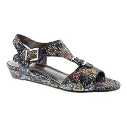 Women's Rose Petals by Walking Cradles Jo Sandal Black Mosaic Floral Fabric