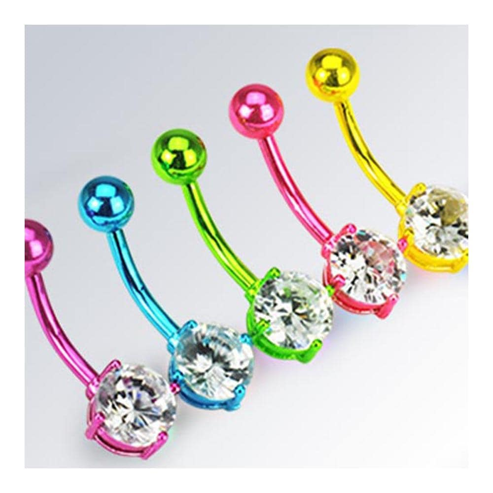 "Neon Color Plated Stainless Steel Navel Belly Button Ring - 14 GA 3/8"" Long"