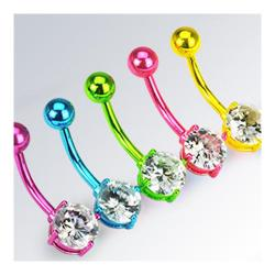 "Neon Color Plated Stainless Steel Navel Belly Button Ring - 14 GA 3/8"" Long - Thumbnail 0"