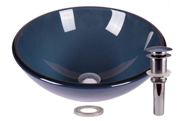 Clear Blue Tempered Glass Bathroom Vessel Basin Sink
