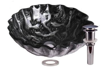 Rocky Stone Tempered Glass Bathroom Vessel Basin Sink