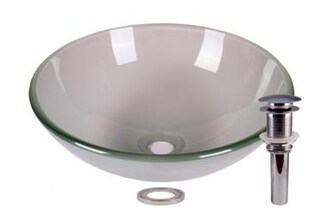 Frosted Tempered Glass Bathroom Vessel Basin Sink