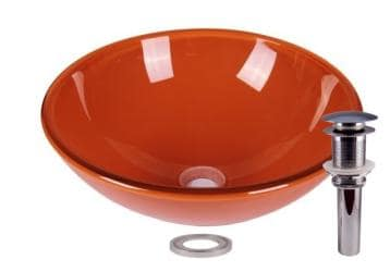Clear Orange Tempered Glass Bathroom Vessel Basin Sink