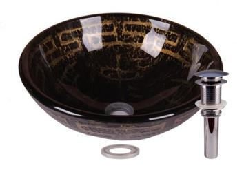 Ancient Olive Tempered Glass Bathroom Vessel Basin Sink