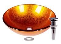 Foil Gold Tempered Glass Bathroom Vessel Basin Sink