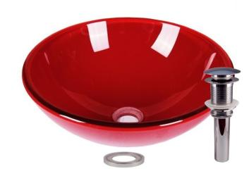 Clear Red Tempered Glass Bathroom Vessel Basin Sink