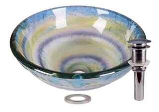 Abstract Element Tempered Glass Bathroom Vessel Basin Sink