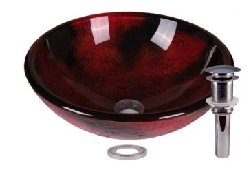 Dark Lava Tempered Glass Bathroom Vessel Basin Sink