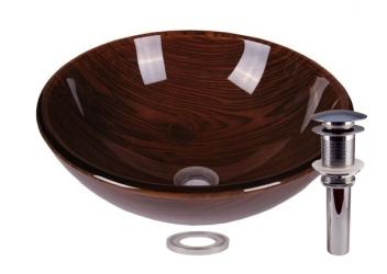 Timber Tempered Glass Bathroom Vessel Basin Sink