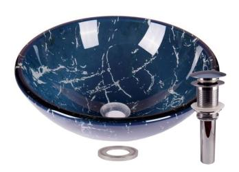 Marble Blue Tempered Glass Bathroom Vessel Basin Sink