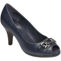 Women's Aerosoles Good Lux Peep Toe Pump Navy Faux Leather