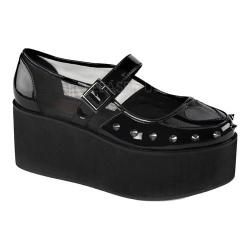 Women's Demonia Grip 01 Platform Mary Jane Black Patent/Mesh