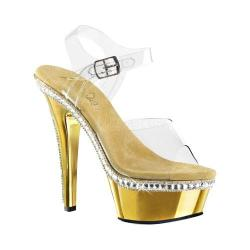 Women's Pleaser Kiss 208RS-1 Ankle-Strap Sandal Clear PVC/Gold Chrome