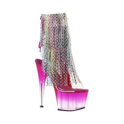 Women's Pleaser Adore 1017RSFT Ankle Boot Clear PVC/Multi/Fuchsia