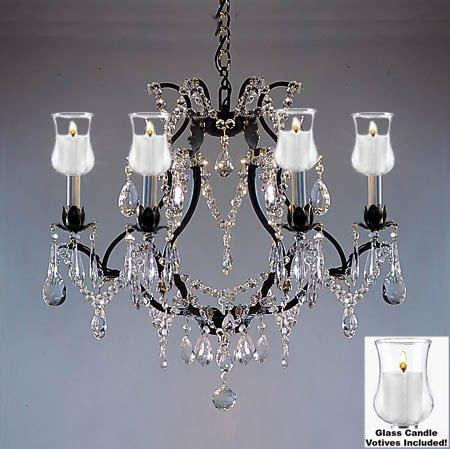 Crystal Chandelier Lighting With Candle Votives H19 W20 For Indoor/Outdoor Use