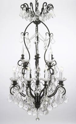 Wrought Iron Crystal Chandelier Lighting H50 x W30