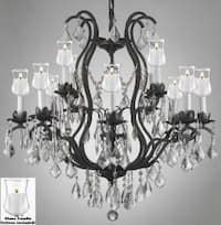 Crystal Chandelier Lighting With Candle Votives H30 x W28 For Indoor/Outdoor Use