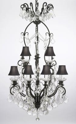 Wrought Iron Crystal Empress Crystal Chandelier Lighting With Black Shades