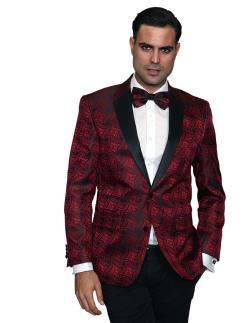 Men's Manzini Red with Black satin Collar sport coat