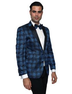 Men's Manzini Royal with Black satin Collar sport coat