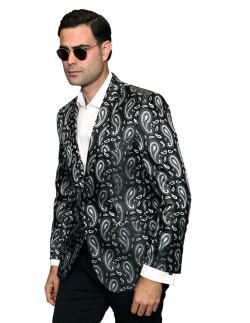 Men's Manzini Black Paisley Woven sport coat