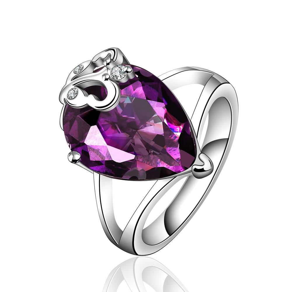 Purple Citrine Hollow Butterfly Layering Ring Size 8