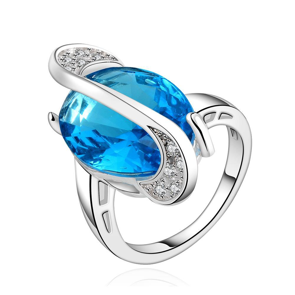 Mock Sapphire Gem Curved Lining Insert Ring Size 8