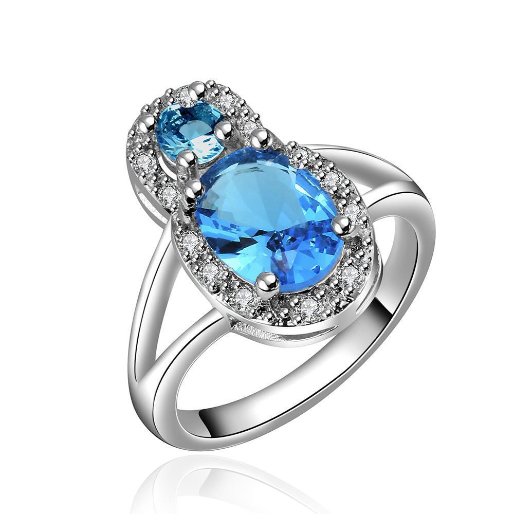 Mock Sapphire Gem Jewels Covering Modern Ring Size 7