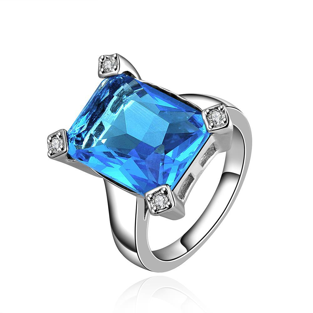 Vienna Jewelry Mock Square Sapphire Gem Modern Ring Size 8