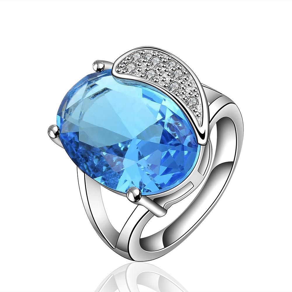 Mock Sapphire Gem Jewels Inlay Ring Size 8