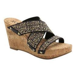 Shop Women S Xoxo Belicia Studs Wedge Sandal Black Elastic