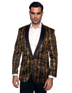 Men's manzini Gold sport coat with black satin Peak Collar