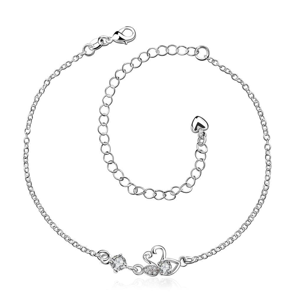 Vienna Jewelry Crystal Stone Mini Butterfly Classic Anklet