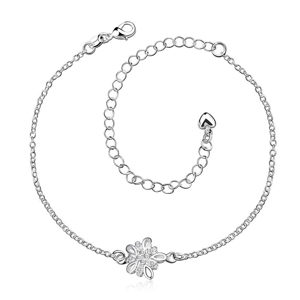 Vienna Jewelry Crystal Stone Orchid Petite Anklet