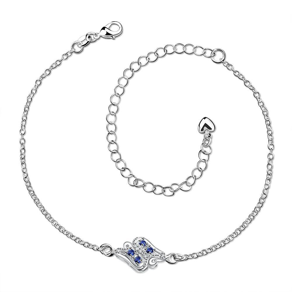 Vienna Jewelry Mock Sapphire Floral Bud Petite Anklet