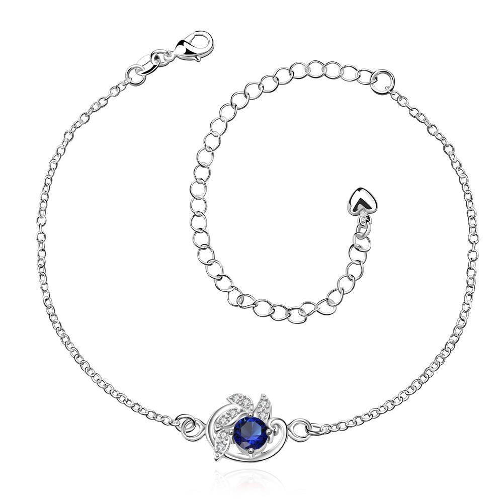 Vienna Jewelry Mock Sapphire Gem Spiral Emblem Petite Anklet - Thumbnail 0