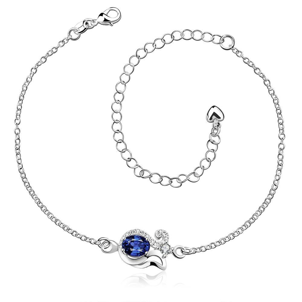 Vienna Jewelry Mock Sapphire Swirl Pendant Anklet