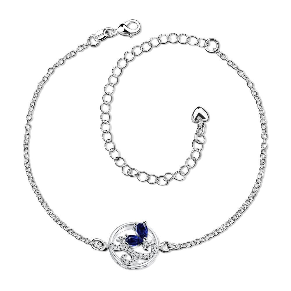 Vienna Jewelry Mock Saphire Abstract Circular Emblem Anklet