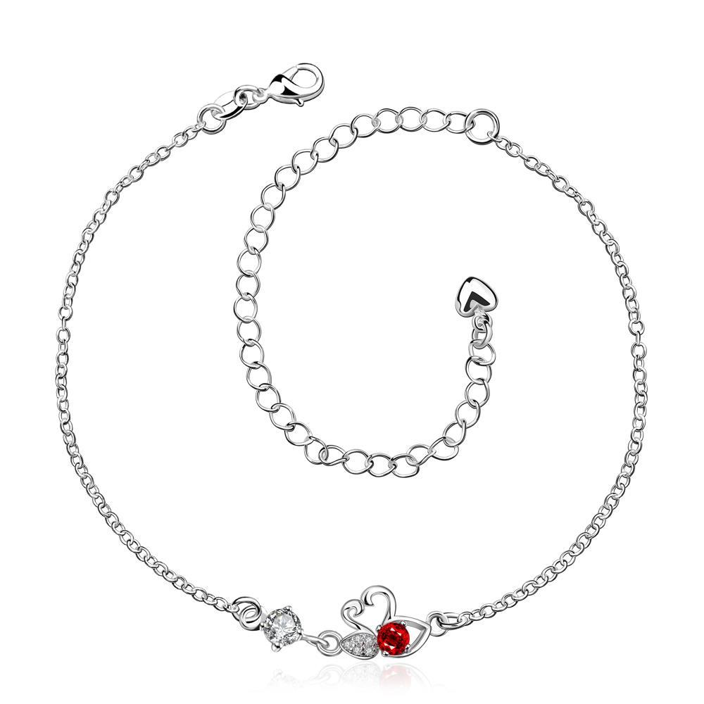 Vienna Jewelry Ruby Red Mini Butterfly Classic Anklet
