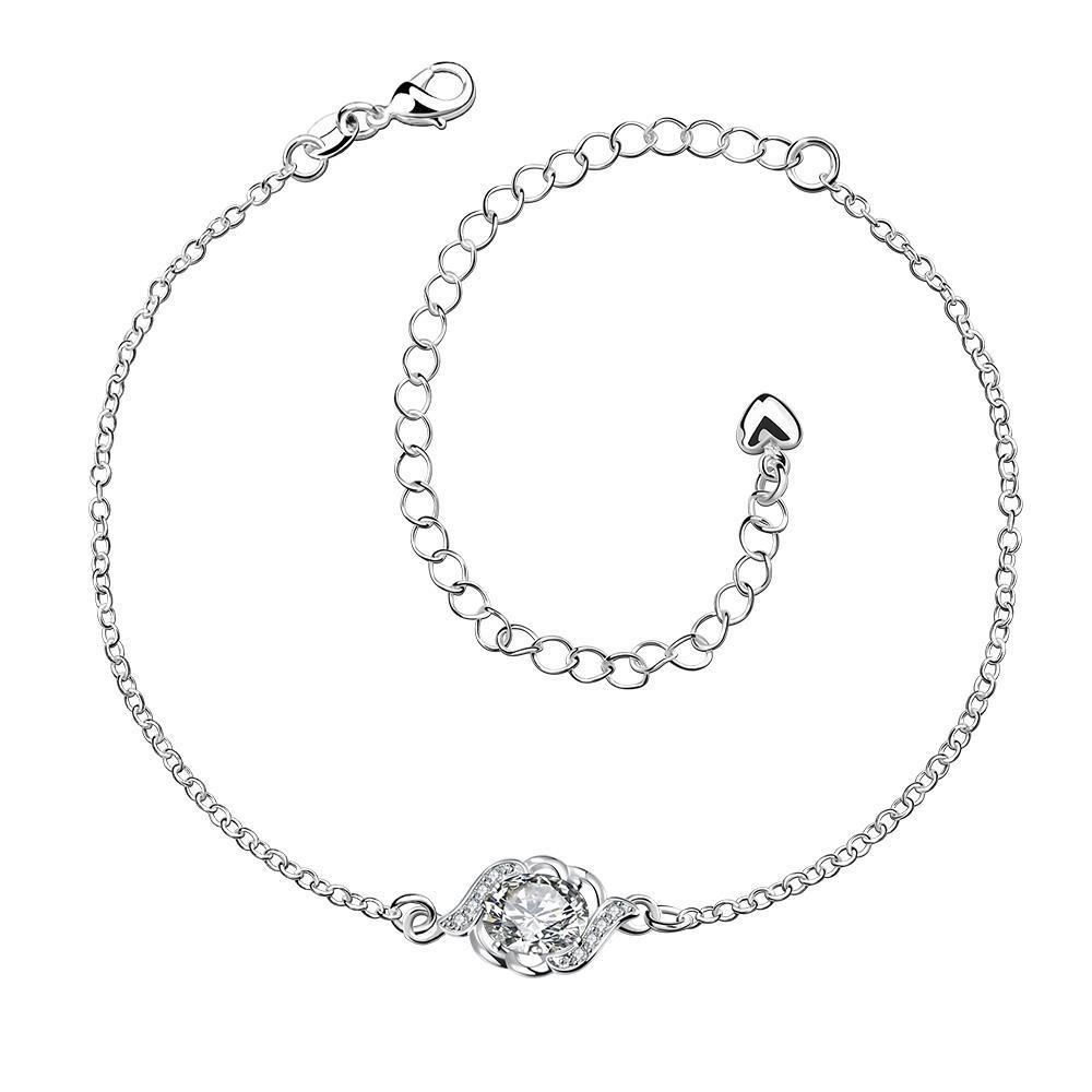 Vienna Jewelry Crystal Stone Circular Gem Petite Anklet