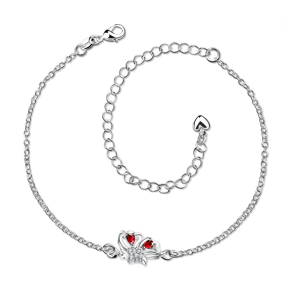 Vienna Jewelry Mock Ruby Red Petite Butterfly Petite Anklet
