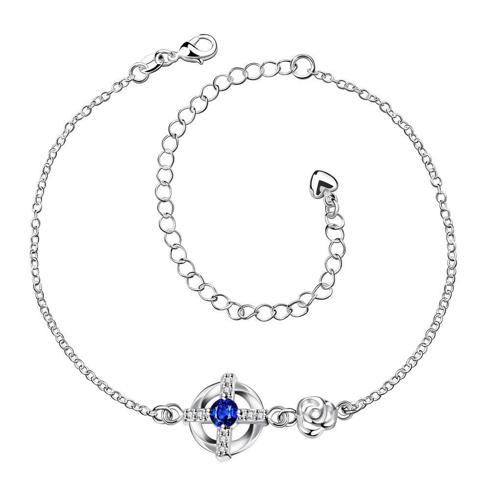 Vienna Jewelry Sapphire Gem Curved Shaped Petite Anklet