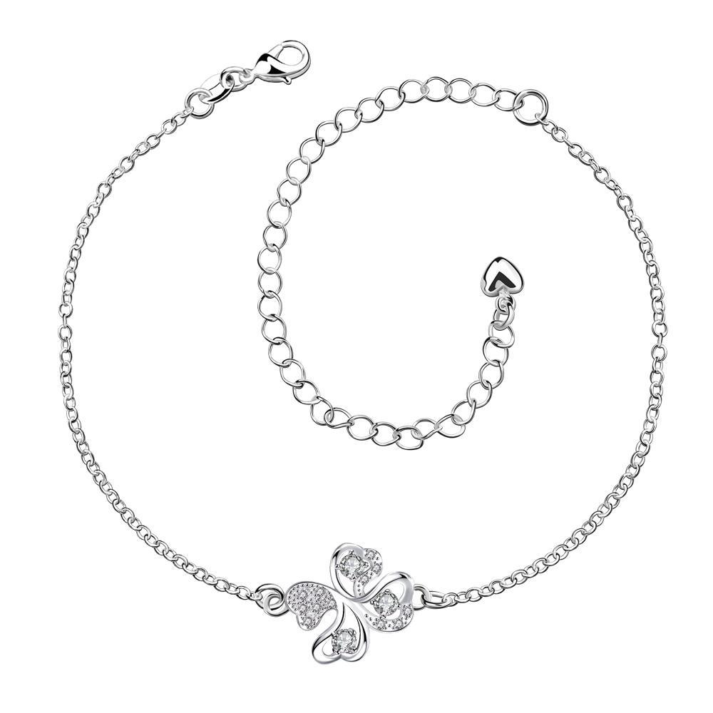 Vienna Jewelry Crystal Stone Butterfly Shaped Petite Anklet