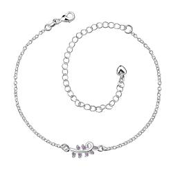 Vienna Jewelry Crystal Jewels Zig Zag Petite Anklet - Thumbnail 0